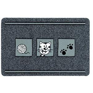 ASTRA 0455015179 Premium Rips-Matte Flocky Color Türmatte, Polypropylen, Katze - Grau/Anthrazit, 40 x 60 x 0, 8 cm