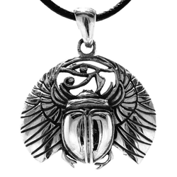 Kiss of Leather Kettenanhänger Skarabäus 925 Sterling Silber Käfer Auge Horus Glücksbringer Ägypten