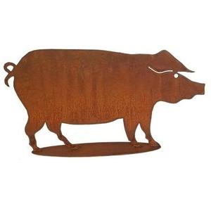 Gartendeko Figuren Metall - Edelrost Bauernhof Tier: Medium Schwein/Dekoschwein/Metallschwein (Fester Stand) - Höhe 40cm / Breite 65cm - Rost Deko