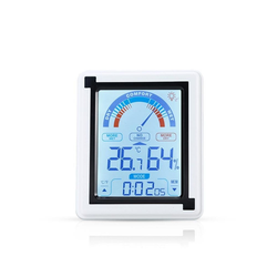 Intirilife Hygrometer Intirilife Elektronisches Thermometer in WEISS – LCD Touch Thermometer mit Uhr, Elektronischer Thermometer