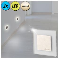 etc-shop LED Einbaustrahler, 2er Set LED Wand Lampen Treppen Beleuchtung Ess Zimmer Decken Einbau Strahler Leuchten Stahl gebürstet