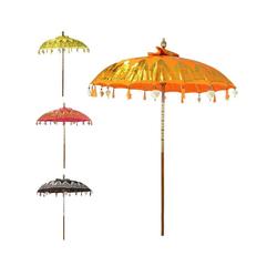 Oriental Galerie Sonnenschirm Balinesischer Sonnenschirm 180 cm Doppelte Bemalung Orange Gold, Handarbeit