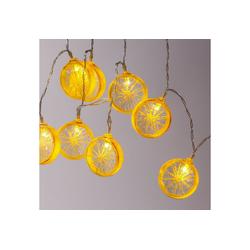 MARELIDA LED-Lichterkette LED Lichterkette Zitrone 10 Zitronenscheiben warmweiße LED Batteriebetrieb gelb, 10-flammig