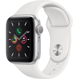 Apple Watch Series 5 GPS 40 mm Aluminiumgehäuse silber, Sportarmband weiß