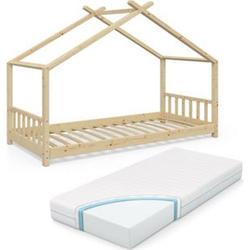 VitaliSpa Kinderbett Design Hausbett Kinder Bett Holz Haus 90x200cm Natur + Matratze