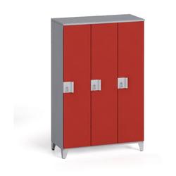 Dreiteiliger kleiderschrank 1400 x 900 x 400 mm, grau/rote