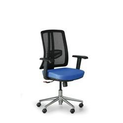 Bürostuhl human, schwarz/blau, stahlkreuz