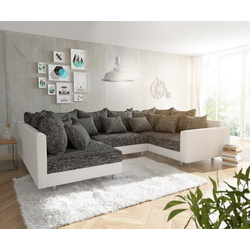 DELIFE Wohnlandschaft Clovis, Weiss Schwarz mit Armlehne Wohnlandschaft weiß 300 cm x 67 cm x 200 cm