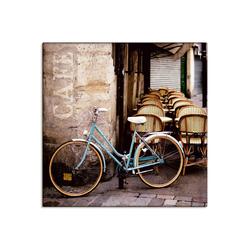 Artland Wandbild Fahrrad am Café, Fahrräder (1 Stück) 40 cm x 40 cm