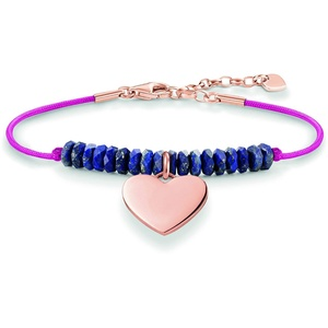 Thomas Sabo Damen-Armband Love Bridge Herz 925 Sterling Silber 750 rosegold vergoldet Nylon blau Länge von 15 bis 18 cm LBA0081-906-1-L19,5v