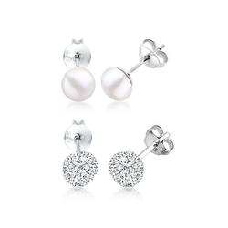 Elli Ohrring-Set Kugel Perle Set Kristalle 925 Silber, Kugel