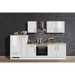 Menke Küchen Küchenzeile White Premium 300 cm, weiß Hochglanz
