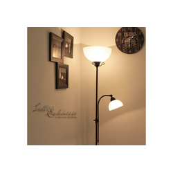 Licht-Erlebnisse Stehlampe COUNTRY Weiße Stehleuchte mit Lesearm Braun Antik rustikal Lampe
