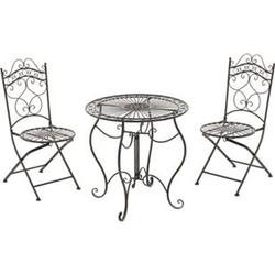 CLP Garten-Sitzgruppe Indra I Zwei Klappstühle Und Ein Tisch I Pflegeleichte Gartenmöbel Aus Eisen Im Jugendstil