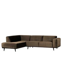 Sofa Rundecke in Taupe Samt Retrostil