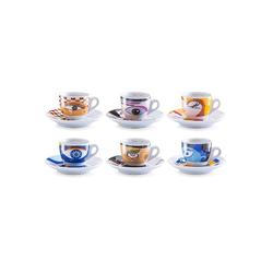 Zeller Present Espressotasse Magic Eyes, (Set, 12 tlg.), 6 Tassen, Untertassen bunt Becher Tassen Geschirr, Porzellan Tischaccessoires Haushaltswaren