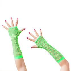 Netzhandschuhe lang fingerlos Party Karneval Fasching - neon grün