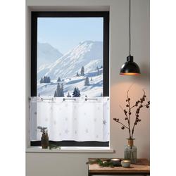 Scheibengardine Stern, my home, Ösen (1 Stück) weiß 120 cm x 30 cm
