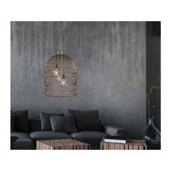 FISCHER & HONSEL LED Pendelleuchte, mit Lampen-Schirm aus Draht-Geflecht, Gitter-Lampen für über Esstisch-Lampen, Vintage, Esszimmer, Wohnzimmer, Galerie, Hängelampe Couch-Tisch braun Ø 52 cm