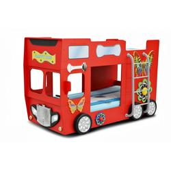 Trebela Kinderbett Trebela Happy Bus inkl. Matratze und Lattenrost mit Leiter, 2x Holzlattenrost, 2x Matratzen gelb