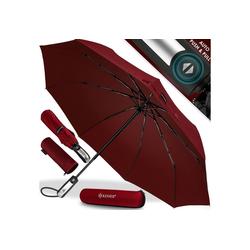 KESSER Taschenregenschirm, Regenschutz, Schirm sturmfest bis 150 km/h - inkl. Schirm-Tasche & Reise-Etui - Taschenschirm mit Auf-Zu-Automatik, klein - leicht & kompakt - Teflon-Beschichtung rot