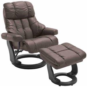 Relaxsessel in Braun Leder mit Hocker (2-teilig)