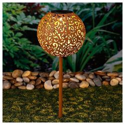 Meinposten LED Solarleuchte Gartenleuchte Solar Rostoptik Gartenkugel Solarkugel, Solarleuche