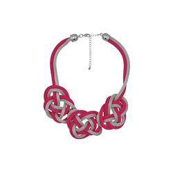 Steuer Collierkette Metall Collier silber/pink aus Meshkette bunt