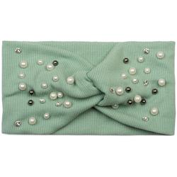 styleBREAKER Haarband Feinripp Haarband mit Perlen und Strass, 1-tlg., Feinripp Haarband mit Perlen und Strass grün