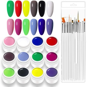 Freeorr 12 Farben Nagellack Gel Set UV Farbgel, mit 15 Nail Art-Pinseln, UV LED Nagelkleber Nail Art Pigment Gel Kit-Set B