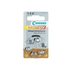 CONRAD ENERGY Knopfzelle ZA 312 Zink-Luft PR41 Hörgerätebatterie 160 mAh 1.4 V 6 St. (650494)