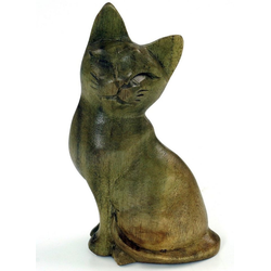 Guru-Shop Dekofigur Kleine Deko Figur, Holzfigur, Tierfigur Katze -..
