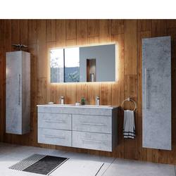 Badmöbelkomplettset in Beton Grau zwei Personen Waschtisch (4-teilig)