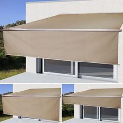 Elektrische Vollkassetten-Markise H124, 4x3m ausfahrbarer Volant ~ Polyester Sand