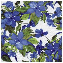 Linoows Papierserviette 20 Servietten Sommer, blühende Clematis in Blau, Motiv Sommer, blühende Clematis in Blau
