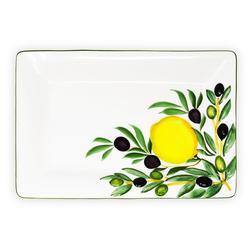 Lashuma Servierteller Zitrone Olive, Keramik, Rechteckiger Wurstteller, Servierplatte 32x20 cm