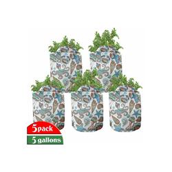 Abakuhaus Pflanzkübel hochleistungsfähig Stofftöpfe mit Griffen für Pflanzen, Meduse Krabben Octopus Sea Shells 28 cm x 28 cm