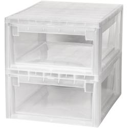 KREHER Aufbewahrungsbox 2x 12 Liter, mit Schublade 2er Set weiß