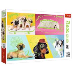 Trefl Puzzle Trefl 10578 Hunde 1000 Teile Neon Puzzle, 1000 Puzzleteile