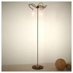 Holländer Stehlampe 5-flammig Casino Eisen-Glas-Kristall Braun-Schwarz-Gold