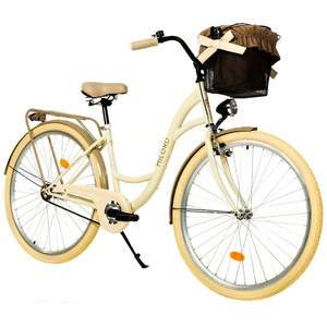 Milord. 26 Zoll 1-Gang Creme Braun Komfort Fahrrad mit Korb Hollandrad Damenfahrrad Citybike Cityrad Retro Vintage