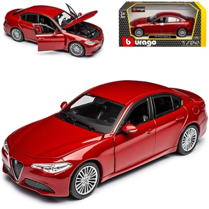 Alfa Romeo Giulia Typ 952 Limousine Rot Metallic Neueste Generation Ab 2016 1/24 Bburago Modell Auto mit individiuellem Wunschkennzeichen
