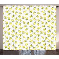 Gardine Schlafzimmer Kräuselband Vorhang mit Schlaufen und Haken, Abakuhaus, Zitronen Watercolored Zitronen 280 cm x 260 cm