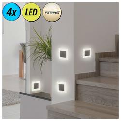 etc-shop LED Einbaustrahler, 4er Set LED Decken Einbau Strahler Wohn Zimmer Wand Leuchten Treppen Stufen Lampen Flur Spots
