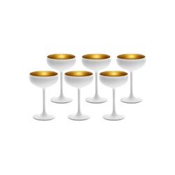 Stölzle Gläser-Set ELEMENTS Champagnerschale Weiß-Gold 6er Set (6-tlg)