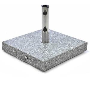 Sonnenschirmständer 50kg Granit poliert grau eckig Edelstahl 50 x 50cm
