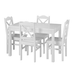 ERST-HOLZ Essgruppe Landhaus-Essgruppe mit Tisch und 4 Stühle Kiefer Massivholz waschweiß 90.70-51 C W-Set 20