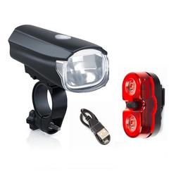 breluxx Fahrradbeleuchtung Fahrradbeluchtung SET USB Batterielampe Akku 70 Lumen, 28 Lux Fahrradlicht