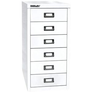 BISLEY MultiDrawer, 29er Serie, DIN A4, 6 Schubladen, Metall, 696 Verkehrsweiß, 38 x 27.9 x 59 cm