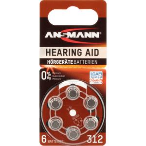 ANS 5013233 - Hörgerätebatterie, Zink-Luft, 7,90x3,60 mm, Aid 312, 6er-Pack